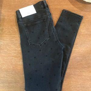 NWT LOFT Modern Skinny Black Polka Dot Jeans